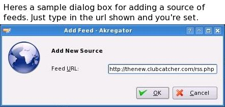 Sample RSS feed dialog box
